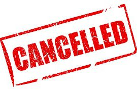 red cancellation notice